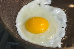 Fried egg on frying pan royalty free stock image