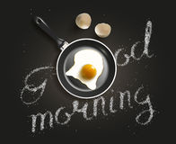 Fried egg in a frying pan Stock Images
