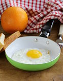Fried egg in a frying pan - healthy breakfast Royalty Free Stock Photography