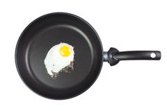 Fried egg in a frying pan isolated Stock Images
