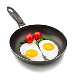 Fried egg in frying pan Stock Images