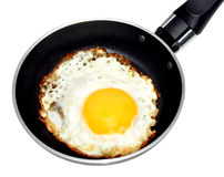 Fried Egg in a Frying Pan. Single fried egg in a non stick frying pan, isolated on a white background Royalty Free Stock Photo