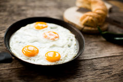Fried egg in a frying pan. On a wooden table royalty free stock photos
