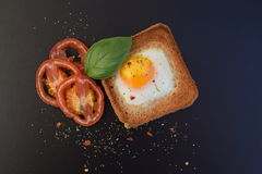 Fried egg with grilled tomatoes on toast Royalty Free Stock Image