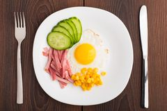 Fried egg with ham and cucumber Royalty Free Stock Photos