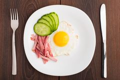 Fried egg with ham and cucumber Royalty Free Stock Photography