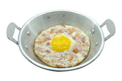 Fried egg with ham and sausage Royalty Free Stock Photos