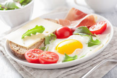 Fried egg ham tomatoes for healthy breakfast Royalty Free Stock Image