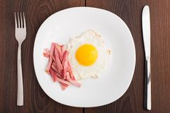 Fried egg with ham Royalty Free Stock Image