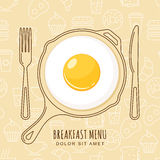 Fried egg and hand drawn pan, fork and knife on seamless background with outline food icons. Royalty Free Stock Photography