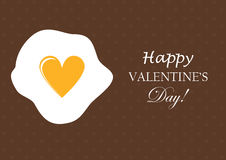 Fried egg with heart form yolk. Happy Valentines Day Greeting Card Royalty Free Stock Images