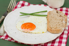 Fried egg heart with green onion on white plate Royalty Free Stock Image
