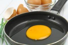 Fried egg heart-shaped Stock Photo