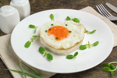 Fried egg heart-shaped Royalty Free Stock Photo
