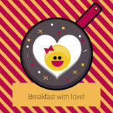 Fried egg heart. On Valentines day. Vector flat scrambled  eggs smiling. Cute omelet in pan, card, flyer, banner, advertising, funny logo for restaurant menus Royalty Free Stock Images