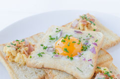 Fried egg inside toast, scrambled eggs Royalty Free Stock Image