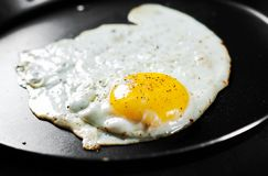 Fried egg in a iron frying pan on Dark royalty free stock photo