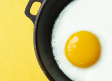 Fried Egg in an Iron Skillet Royalty Free Stock Photo