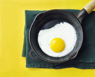 Fried Egg in an Iron Skillet Royalty Free Stock Image