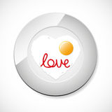 Fried egg with ketchup word Love Stock Image