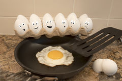Fried egg in kitchen illustrated. Carton of eggs with illustrated faces on kitchen counter with fried egg on skillet Stock Photo