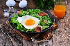 Fried egg with lettuce, arugula, parmesan and jamon. Rustic food. Dinner Royalty Free Stock Photos
