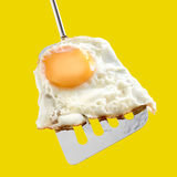 Fried egg and metallic spatula Royalty Free Stock Photos