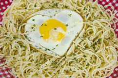 Fried egg on noodles Stock Images