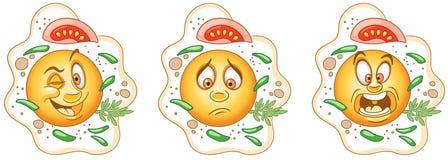Fried Egg Omeletlunch Gezond voedselconcept stock illustratie