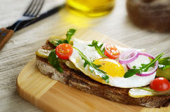 Fried egg open sandwich Royalty Free Stock Photography