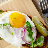 Fried egg open sandwich Royalty Free Stock Photos