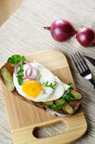 Fried egg open sandwich Stock Images