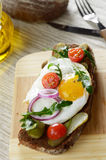 Fried egg open sandwich Royalty Free Stock Image