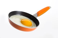 Fried Egg in Orange Frying Pan. Fried egg in a orange frying pan isolated on a white background Stock Photos