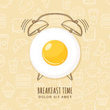 Fried egg and outline alarm clock on seamless background with linear food icons. Vector design for breakfast menu, cafe. Royalty Free Stock Photos