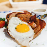 Fried egg over a bacon Stock Photo