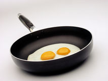 Fried egg and pan. Royalty Free Stock Photos