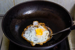 Fried egg in a pan Royalty Free Stock Photography