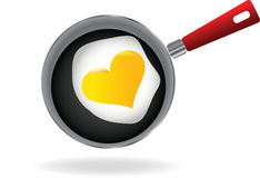 Fried egg on a pan Royalty Free Stock Image