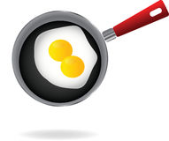Fried egg on a pan Stock Photos