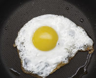 Fried egg in pan. A fried egg in a frying pan Stock Images