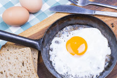 Fried egg on pan. Royalty Free Stock Photography