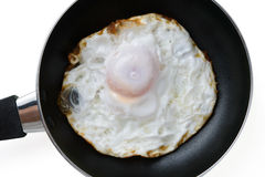 Fried egg in a pan Stock Photos