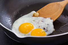 Fried egg. On a pan at The kitchen Royalty Free Stock Photography