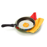 Fried egg on pan Stock Photo