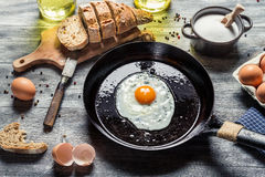 Fried egg on a pan served with homemade bread Royalty Free Stock Photo