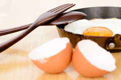 Fried egg in pan Royalty Free Stock Images
