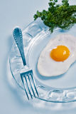 Fried egg with parsley and fork Royalty Free Stock Photos
