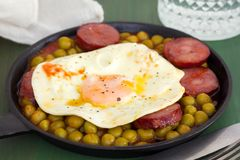 Fried egg with smoked sausages and peas Stock Image