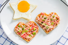 Fried egg and pizza Royalty Free Stock Images